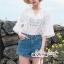 Lace Shirt White Circle Korea Style thumbnail 1