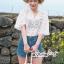 Lace Shirt White Circle Korea Style thumbnail 5