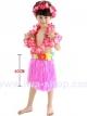 ชุดฮาวายเด็กกระโปรงฟาง พร้อมเซตพวงมาลัย รุ่นหนาพิเศษ 40 cm สีชมพู