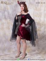 เช่าชุดแฟนซี &#x2665 ชุดแฟนซี ชุดวิคตอเรีย พร้อมหน้ากาก ผ้ากำมะหยี่ - สีแดงเลือดหมู