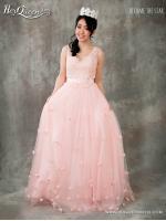 &#x2665 ชุดราตรียาว เจ้าหญิงคอวี กระโปรงรูด ชายดอกไม้สะพรั่ง-สีชมพู
