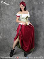 เช่าชุดแฟนซี &#x2665 ชุดประจำชาติเยอรมัน ชุดบาวาเรียน กระโปรงยาว สีแดงเลือดหมู