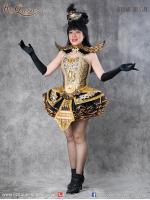 เช่าชุดแฟนซี &#x2665 ชุดแฟนซี ชุดการแสดง สไตล์ไทย ไหล่ยก สีดำ ทอง ชุดโชว์ หางเครื่อง