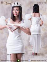 เช่าชุดราตรี &#x2665 ชุดราตรีหน้าสั้นหลังยาว แขนพองเจ้าหญิง - สีขาว
