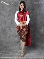 เช่าชุดไทย &#x2665 ชุดไทยบรมพิมาน - สีทองอ่อน อมครีมเหลือง สำเนา