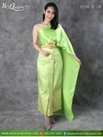 เช่าชุดไทย &#x2665 ชุดไทย สไบเขียว นางตานี