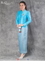 เช่าชุดไทย &#x2665 ชุดไทยจิตรลดา เสื้อฟ้าเข้ม ผ้าถุงลายไทย