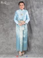 เช่าชุดไทย &#x2665 ชุดไทยบรมพิมาน เสื้อสีฟ้าอ่อน ผ้าถุงสำเร็จหน้านาง สีฟ้าเหลือบทอง