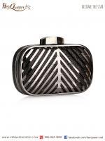 ให้เช่า &#x2665 กระเป๋าครัช โลหะ หุ้มผ้ามีเกล็ดในตัว (สีดำ)