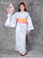 เช่าชุดแฟนซี &#x2665 ชุดญี่ปุ่น กิโมโน สีฟ้าลายดอกไฮเดรนเยียสีส้ม