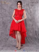 เช่าชุดราตรี &#x2665 ชุดราตรี ลูกไม้สีแดง แขนกุด หน้าสั้นหลังยาว สีแดง