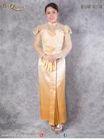เช่าชุดไทย &#x2665 ชุดไทย ร.5, ร.6, ร.7 เสื้อลูกไม้สีทองแขนระบาย อก 39-42 นิ้ว ผ้าถุงยกหน้านาง ไล่สี