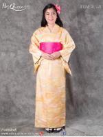 เช่าชุดแฟนซี &#x2665 ชุดญี่ปุ่น กิโมโน สีเหลืองทอง