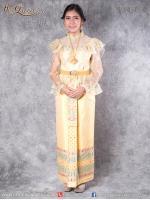 เช่าชุดไทย &#x2665 ชุดไทย ร.5, ร.6, ร.7 เสื้อลูกไม้สีทองระบายผ้าแก้ว ผ้าถุงสำเร็จปักชาย
