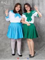 เช่าชุดแฟนซี &#x2665 ชุดแฟนซี ชุดนักเรียนไซส์ใหญ่ สีเขียว และสีฟ้า