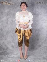 เช่าชุดไทย &#x2665 ชุดไทย ร.5 ประยุกต์ เสื้อลูกไม้แขนพอง สีครีม โจงกระเบน