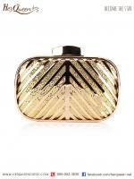 ให้เช่า &#x2665 กระเป๋าครัช โลหะ หุ้มผ้ามีเกล็ดในตัว (สีทอง)
