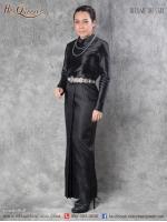 เช่า - ขาย ชุดไทย ไว้อาลัย กราบพระบรมศพ &#x2665 ชุดไทยบรมพิมาน ผ้าถุงสำเร็จ ผ้าไหมอิตาลี สีดำ
