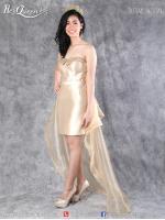 เช่าชุดราตรี &#x2665 ชุดราตรี หน้าสั้นหลังยาว เกาะอกผ้าแก้ว แต่งโบว์ด้านหลัง - สีทอง
