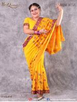 เช่าชุดแฟนซี &#x2665 ชุดแฟนซี ชุดอินเดีย ชุดแขก ส่าหรี สีเหลืองสด ปักดิ้นทอง