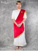 เช่าแฟนซี &#x2665 ชุดแฟนซี ชุดกรีก โรมัน ผู้ชาย สีขาว-แดง พร้อมเครื่องประดับ
