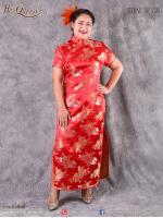 เช่าชุดราตรี &#x2665 ชุดจีนย้อนยุค ชุดกี่เพ้า ไซส์ใหญ่ ผ้าไหมจีน สีแดง ไซส์ 3XL และ 4XL