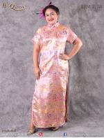 เช่าชุดราตรี &#x2665 ชุดกี่เพ้า จีน ไซส์ใหญ่ ผ้าไหมจีน สีชมพูหวาน ไซส์ 4XL