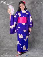 เช่าชุดแฟนซี &#x2665 ชุดญี่ปุ่น กิโมโน สีน้ำเงินเหลือบม่วง