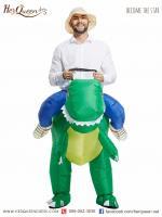 เช่าชุดแฟนซี &#x2665 ชุดเป่าลม ไดโนเสา ครึ่งตัวสีเขียว