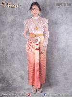 เช่าชุดไทย &#x2665 ชุดไทย ร.5, ร.6, ร.7 เสื้อลูกไม้สีชมพูนู๊ด ลูกไม้ปักลูกปัดทั้งตัว ผ้าถุงไล่สีหน้านาง