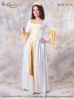 เช่าชุดแฟนซี &#x2665 ชุดวิคตอเรีย ย้อนยุค สีขาว แต่งกุ๊นทอง แขนกระดิ่งสีเหลือง