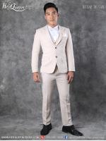 เช่าชุดแฟนซี &#x2665 ชุดสูท พร้อมเสื้อกั๊ก สุภาพบุรุษจุฑาเทพ - สีครีม