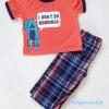 Carter's : ชุดเสื้อ สกรีน I Don't do Mornings สีแดง + กางเกงลายสก็อต (งานขีดป้าย) size 18m / 24m / 3T / 4T