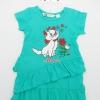H&M : เดรสยาวสีเขียวเข้มเพนท์ลายแมวมารี size 1.5-2y