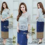 🌟พร้อมส่ง M 🌟ชุดเดรสผ้าลูกไม้ ตัดต่อผ้า Cotton พิมพ์ลายไทย เพิ่มความยาวกระโปรงพิเศษ