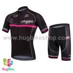 ชุดจักรยานแขนสั้น Volegarb 16 (01) สีดำหน้าอกแถบชมพู
