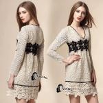 Dress -งานลูกไม้คอวีลึกสีครีม