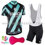 ชุดจักรยานผู้หญิงแขนสั้นขาสั้น Bianchi 17 (04) สีดำลายเขียว กางเกงเอี๊ยม