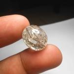 แก้วขนเหล็ก น้ำใส เส้นแกร่ง สวย ขนาด 1.8x 1.5 cm ทำหัวแหวน