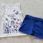 H&M : set เสื้อกล้ามสีขาว+กางเกงขาสั้นสีน้ำเงิน ลายผีเสื้อ (งานติดป้ายผิด) size : 8-10y / 10-12y