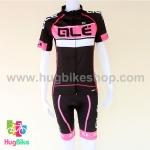ชุดจักรยานผู้หญิงแขนสั้นขาสั้น ALE 16 (09) สีดำขาวชมพูหลังขาว