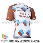 เสื้อจักรยานแขนสั้นทีม AG2RLA Mondiale 2014 สีขาวน้ำตาล สั่งจอง (Pre-order)