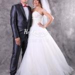 ขาย &#x2665 ชุดแต่งงาน ชุดเจ้าบ่าว ชุดเจ้าสาว เกาะอก โบว์ใต้อก พร้อมผ้าเวลล์ (VEIL) คลุมผมเจ้าสาว