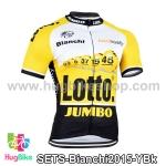 เสื้อจักรยานแขนสั้นทีม Bianchi 2015 สีเหลืองขาวดำ