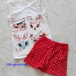 H&M : set เสื้อกล้ามสีขาว+กางเกงขาสั้นสีแดง ลายแมว (งานติดป้ายผิด) size : 8-10y / 10-12y