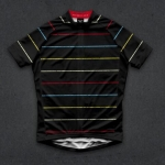 เสื้อจักรยานแขนสั้นทีม TWINSIX 16 (40) สีดำลายเส้นสี