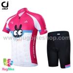 ชุดจักรยานเด็กแขนสั้นขาสั้น CheJi (08) สีชมพูขาวลายกระต่าย