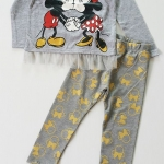 เซ๊ต มิกกี้ มินนี่ สีเทา กางเกงสีเทาลายสีทอง size 4-6 / 6-8 / 8-10