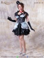 เช่าชุดแฟนซี &#x2665 ชุดแฟนซี ฮาโลวีน ชุดควีน เจ้าสาวแวมไพร์ ระบายชั้นเลเยอร์ สีเทาฟ้าดำ