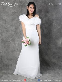 เช่าชุดราตรี &#x2665 ชุดราตรียาวสีขาวออฟไวท์ ผ้าชีฟอง พริ้วสวย ดั่งปุยเมฆ